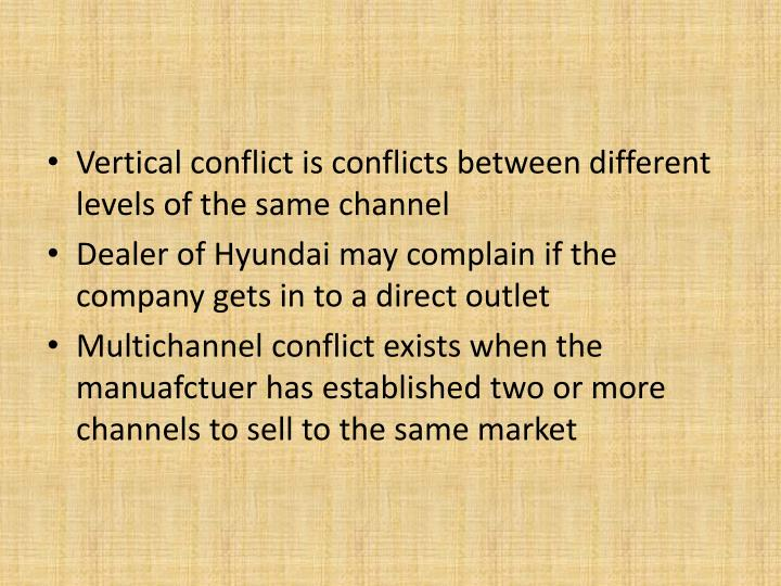 Vertical conflict is conflicts between different levels of the same channel
