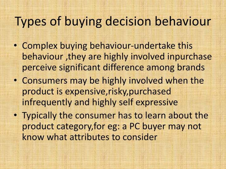 Types of buying decision behaviour
