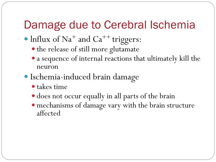 Damage due to Cerebral Ischemia