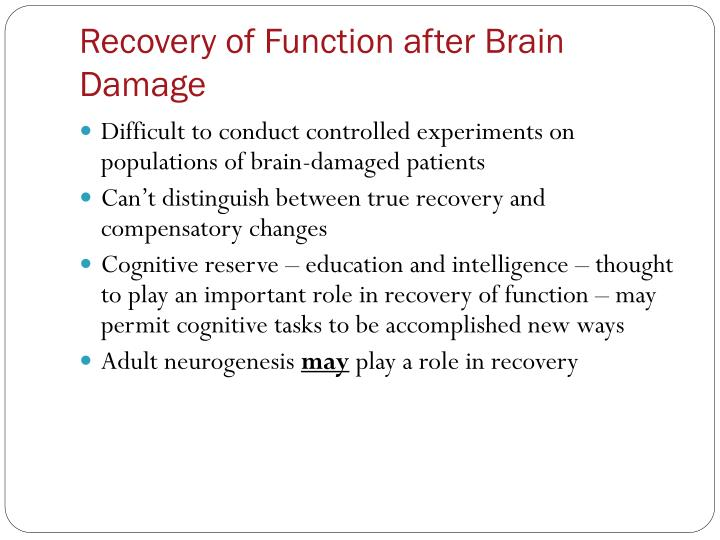 Recovery of Function after Brain Damage