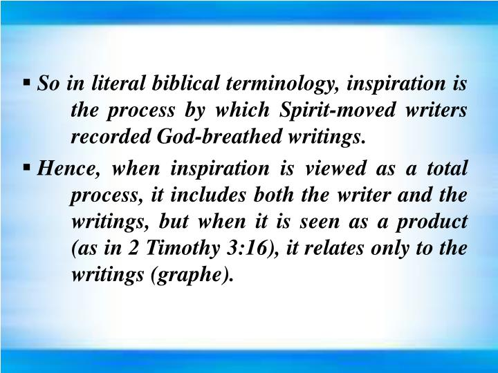 So in literal biblical terminology, inspiration is the process by which Spirit-moved writers recorded God-breathed writings.
