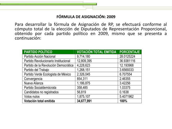 FÓRMULA DE ASIGNACIÓN: 2009