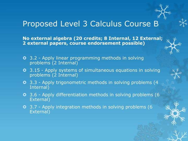 Proposed Level 3 Calculus Course B