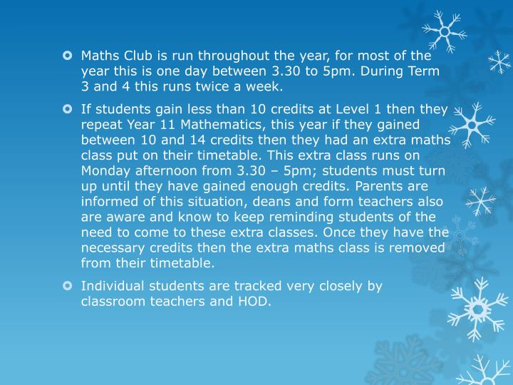 Maths Club is run throughout the year, for most of the year this is one day between 3.30 to 5pm. Dur...