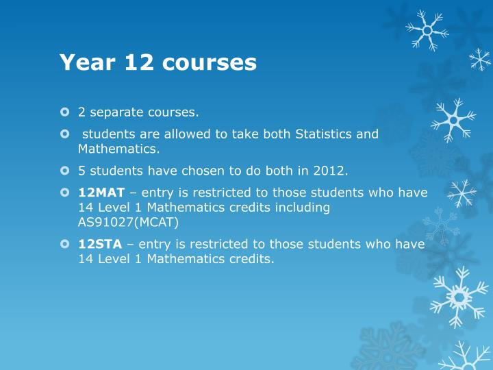 Year 12 courses