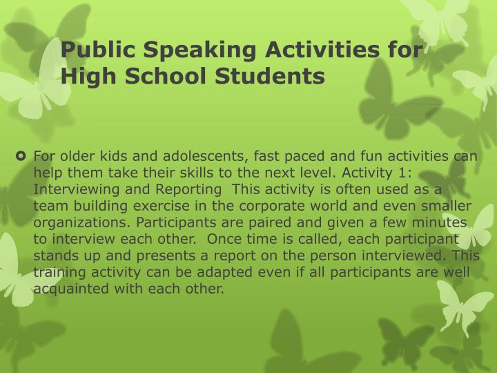 Public Speaking Activities for