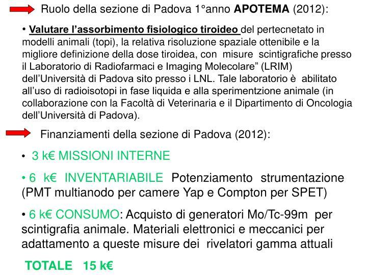Ruolo della sezione di Padova 1°anno