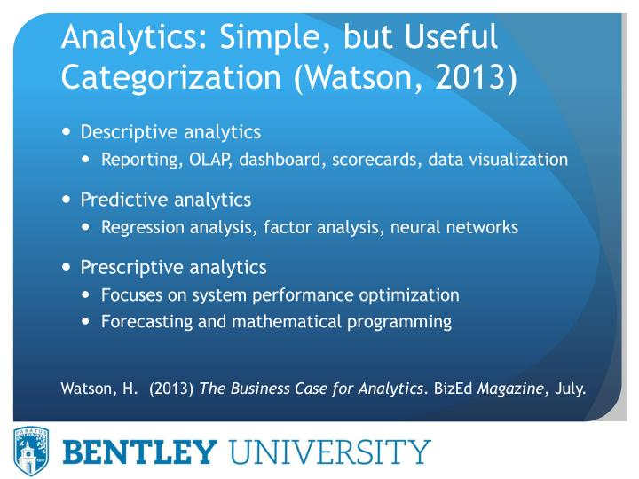 Analytics: Simple, but Useful Categorization (Watson, 2013)