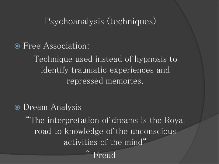 Psychoanalysis (techniques)