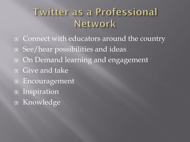 Twitter as a Professional Network