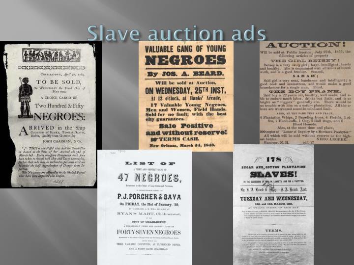 Slave auction ads