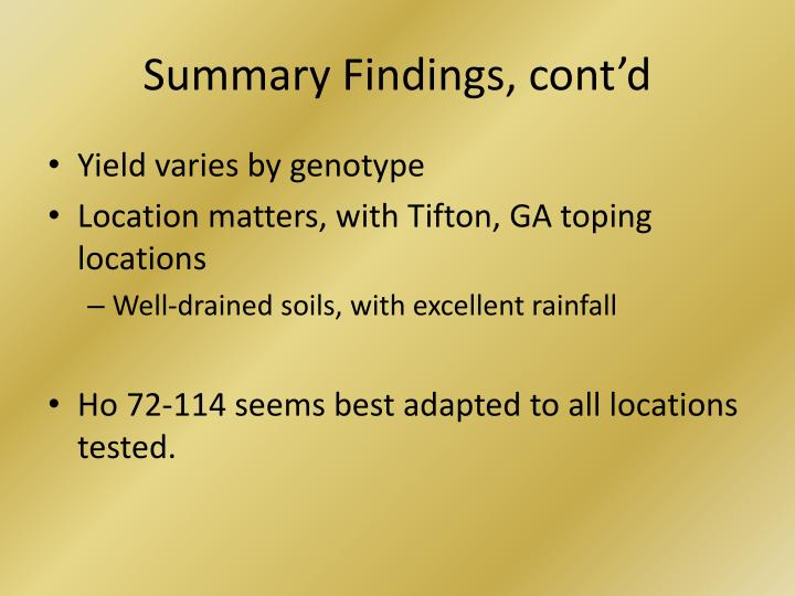 Summary Findings, cont'd