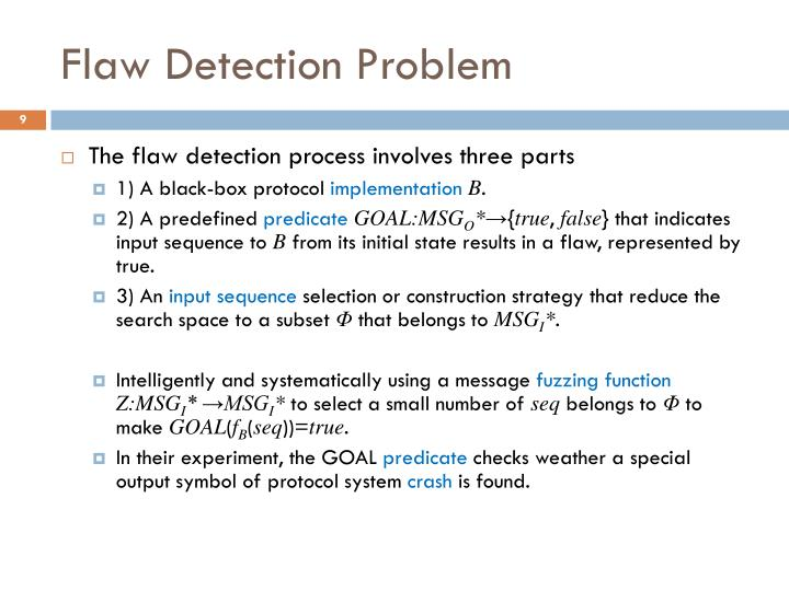 Flaw Detection Problem