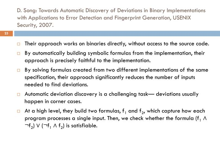D. Song: Towards Automatic Discovery of Deviations in Binary Implementations