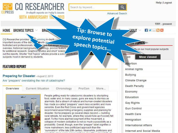 Tip: Browse to explore potential speech topics…