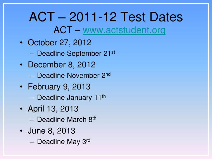 ACT – 2011-12 Test Dates