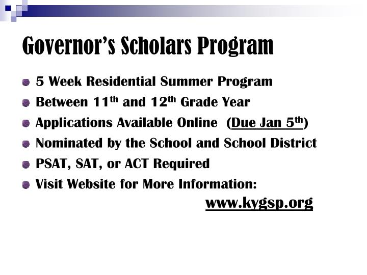 Governor's Scholars Program