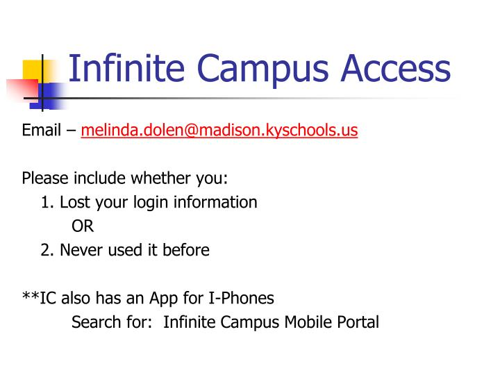 Infinite Campus Access
