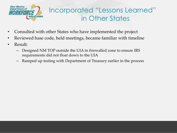"Incorporated ""Lessons Learned"""