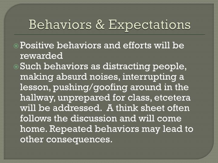 Behaviors & Expectations
