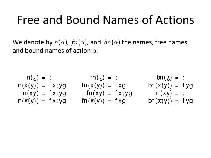 Free and Bound Names of Actions