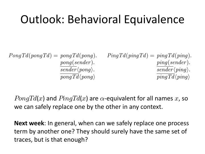 Outlook: Behavioral Equivalence