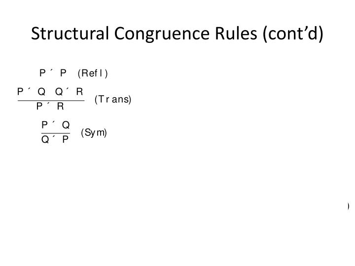 Structural Congruence Rules (cont'd)