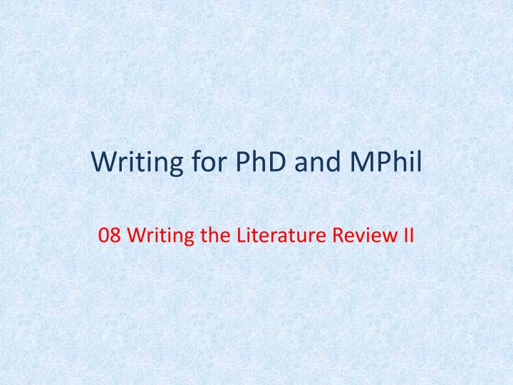 writing literature review in phd thesis
