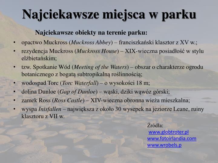 Najciekawsze miejsca w parku