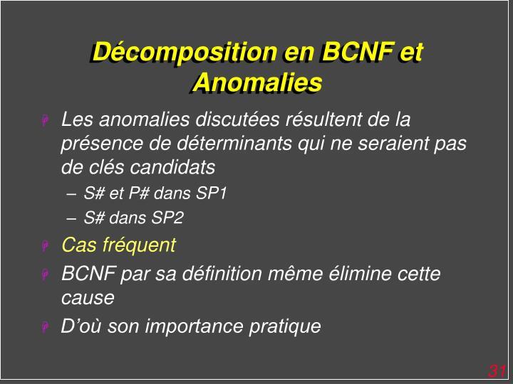 Décomposition en BCNF et Anomalies