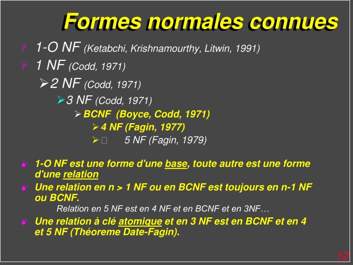 Formes normales connues