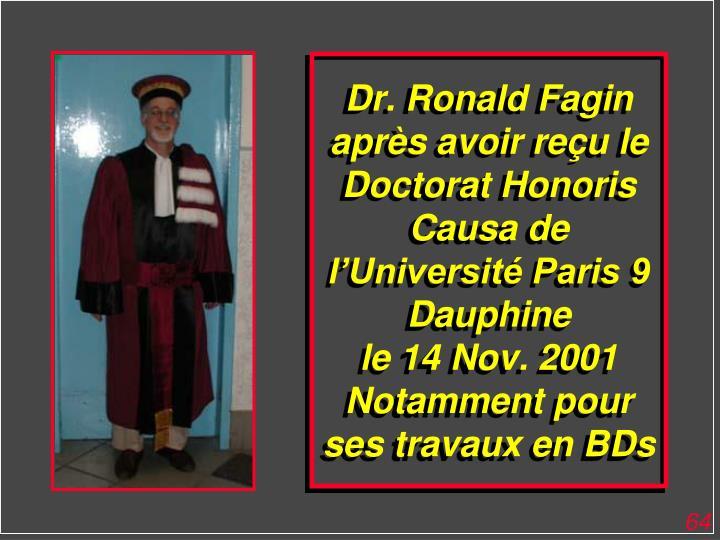 Dr. Ronald Fagin après avoir reçu le Doctorat Honoris Causa de l'Université Paris 9 Dauphine