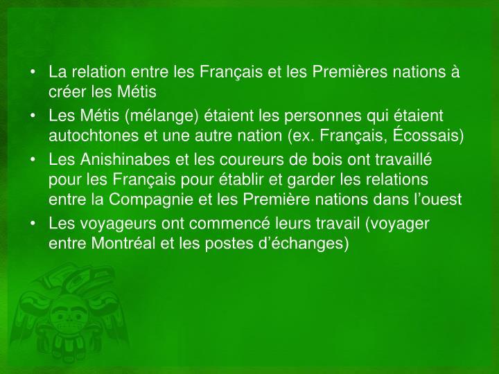 La relation entre les Français et les Premières nations