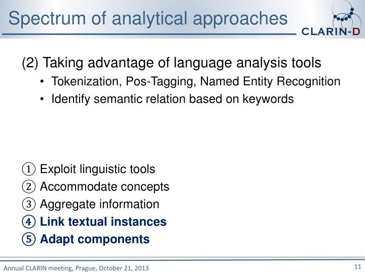 Spectrum of analytical approaches