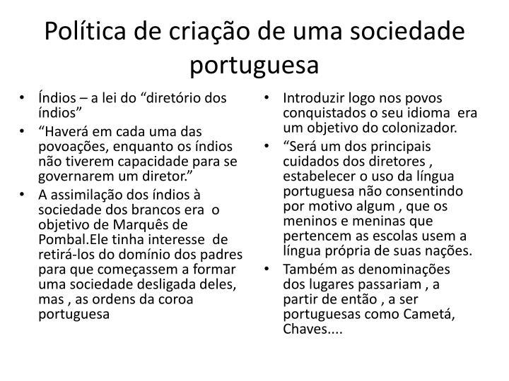 Política de criação de uma sociedade portuguesa