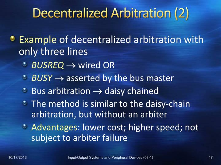 Decentralized Arbitration