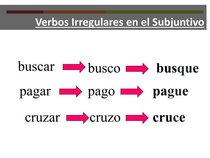 Verbos Irregulares en el Subjuntivo