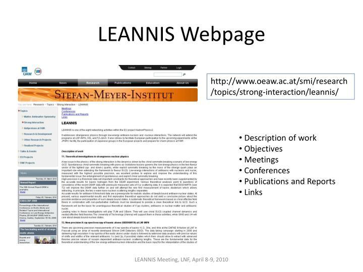 LEANNIS Webpage