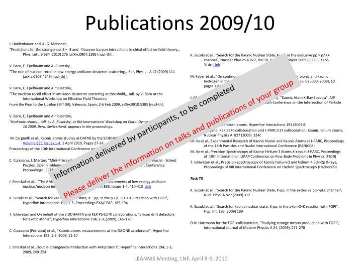 Publications 2009/10