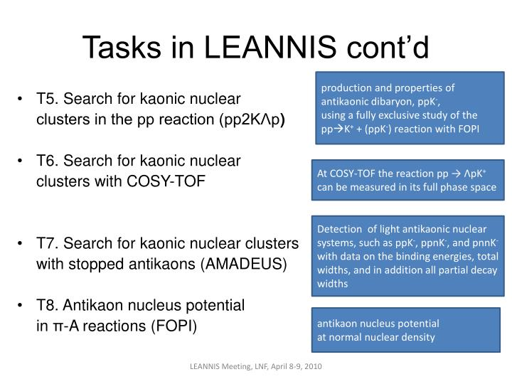 Tasks in LEANNIS cont'd
