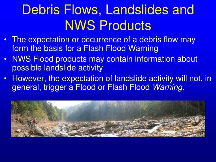 Debris Flows, Landslides and