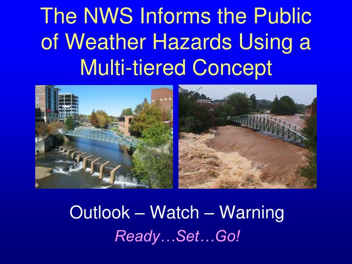 The nws informs the public of weather hazards using a multi tiered concept
