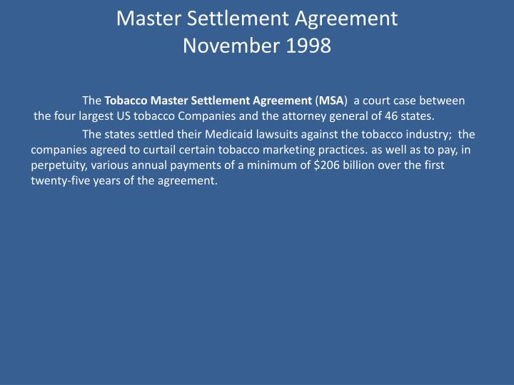 Master Settlement Agreement