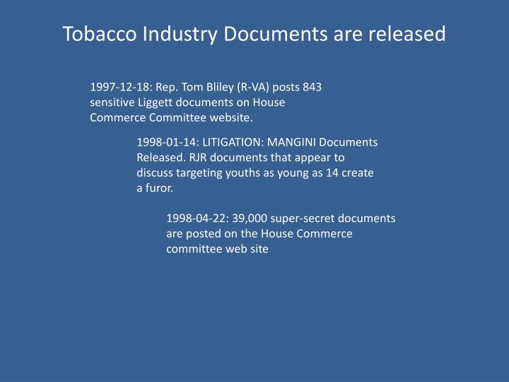 Tobacco Industry Documents are released