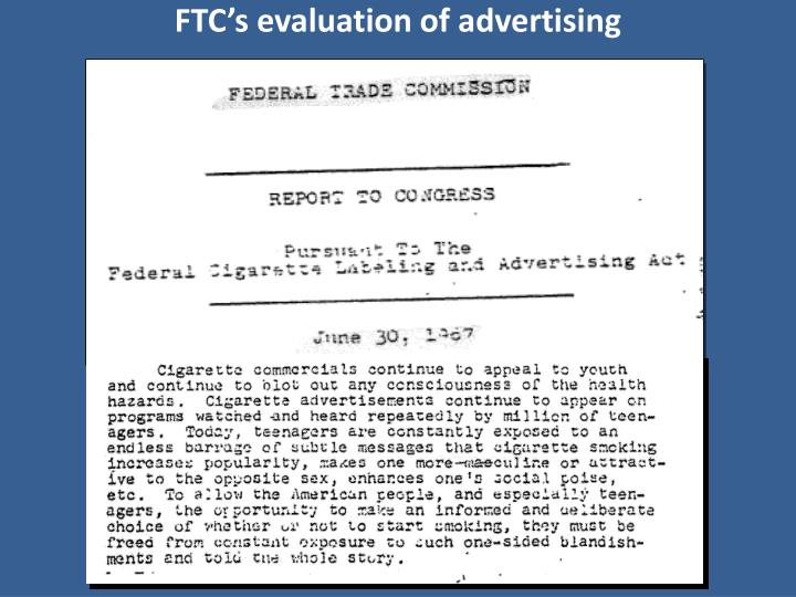 FTC's evaluation of advertising