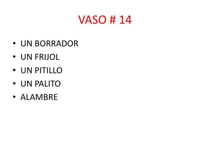 VASO # 14