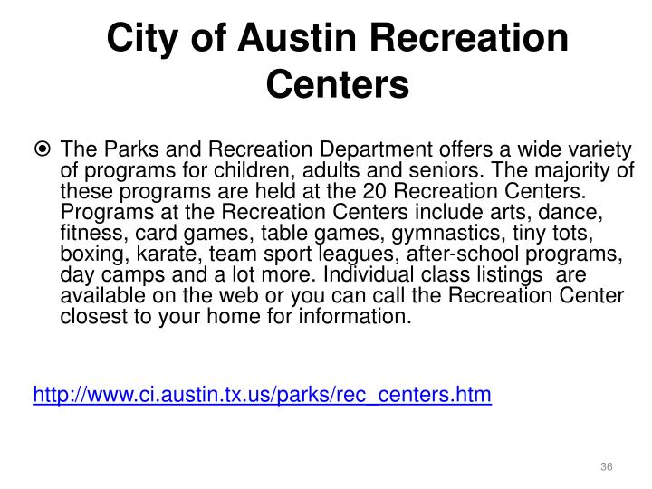 City of Austin Recreation Centers