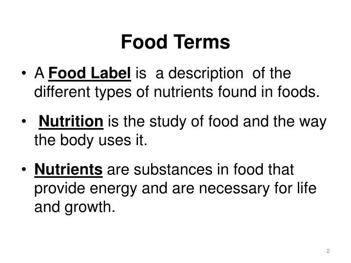 Food Terms
