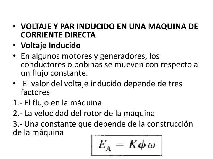 VOLTAJE Y PAR INDUCIDO ENUNA MAQUINA DE CORRIENTE