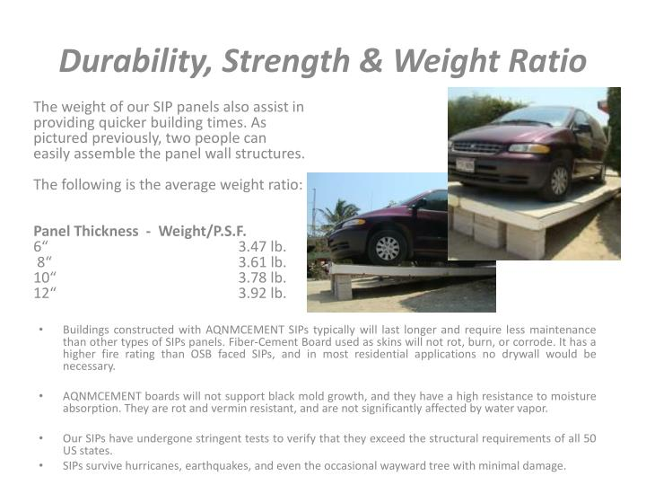 Durability, Strength & Weight Ratio